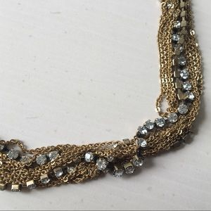 J.Crew Gold Chain and Rhinestone Necklace